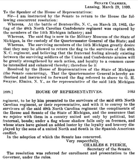 40th North Carolina Regiment, Flag Resolution, Michigan House of Representatives, 1899