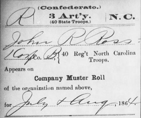 John Riley Ross, Service Record