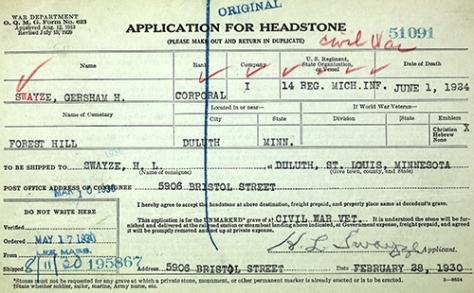 Gershom H. Swayze Headstone Application